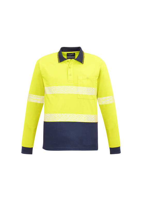 ZH530 Unisex Hi Vis Segmented L/S Polo - Hoop Taped