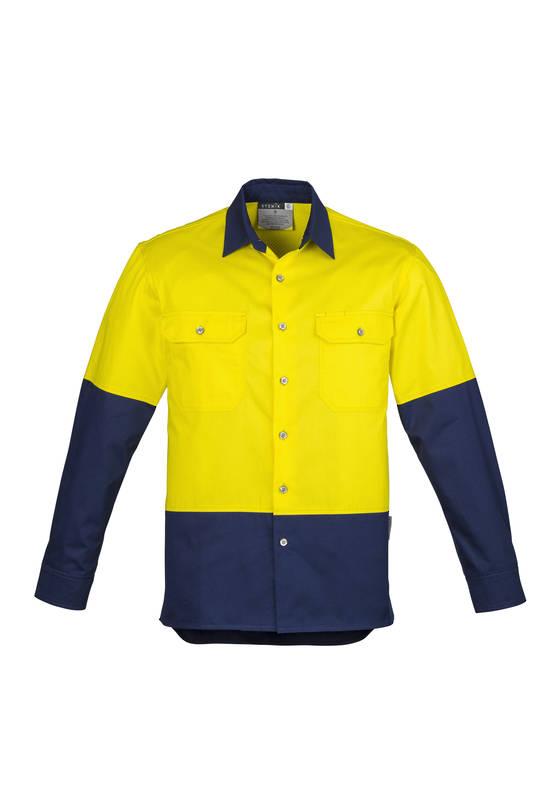 ZW122 Mens Hi Vis Spliced Industrial Shirt