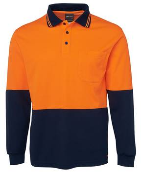 6HPL Hi Vis L/S Cotton Back Polo