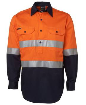 6HWCF Hi Vis (D+N) Close Front L/S 190g Shirt