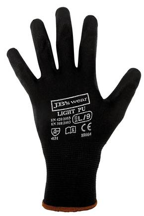 BLACK LIGHT PU BREATHABLE GLOVE (12 PACK) 8R004 LIGHT PU GLOVE