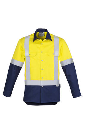 ZW124 Mens Hi Vis Spliced Industrial L/S Shirt - Shoulder Taped