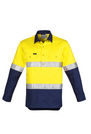 ZW550 Mens Hi Vis Closed Front L/S Shirt - Hoop Taped