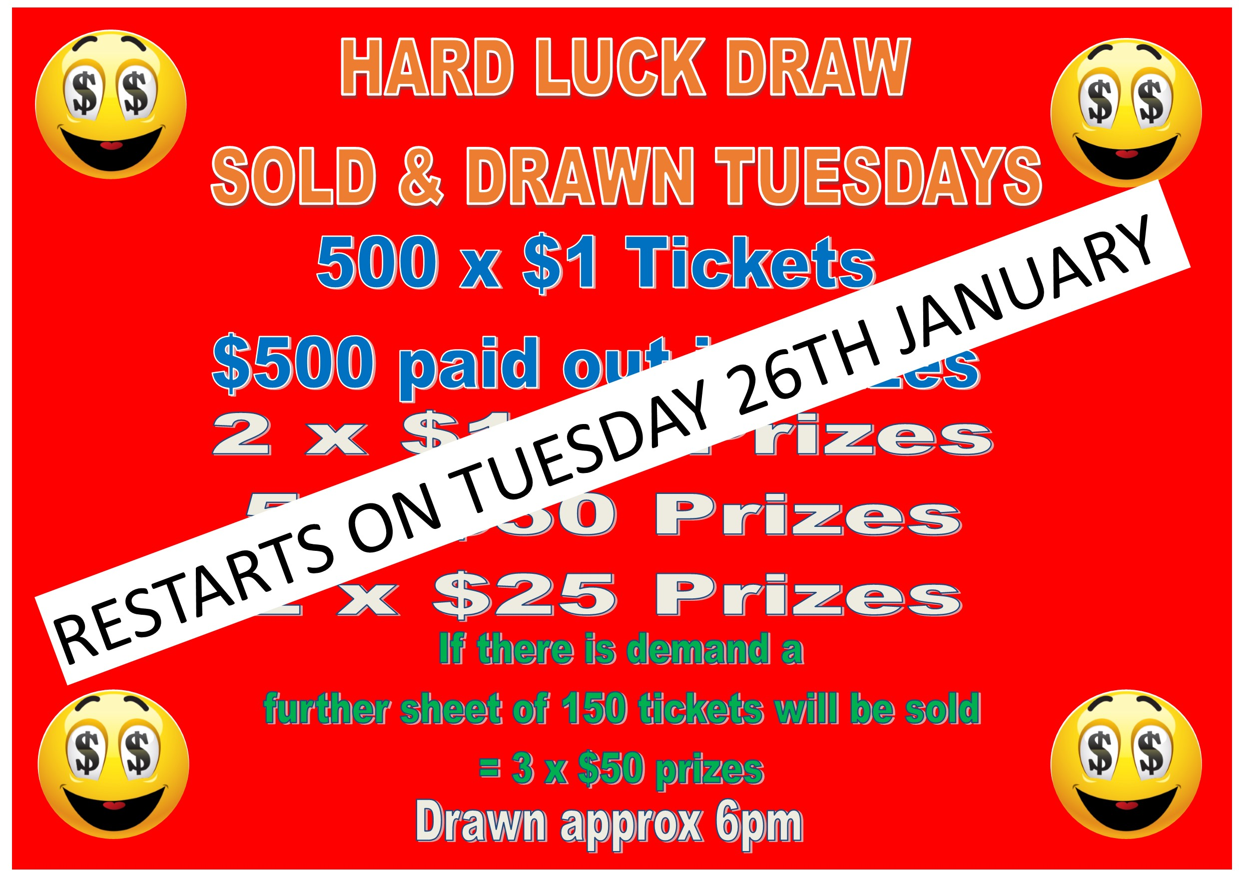 Hard Luck Draw Restarts 26th January 2021