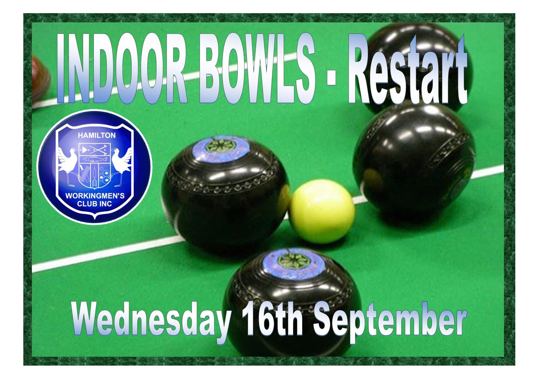 Indoor Bowls Restart Sep 16 2020