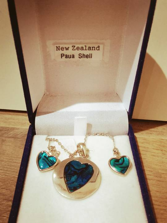 Necklace - Paua Shell 3 heart