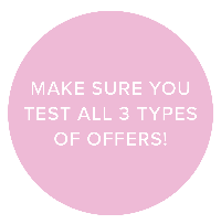 Make sure you test all 3 types of offers