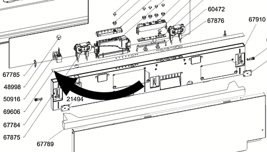 Smeg Dishwasher Control Panel Strip on top  69606, STH905,