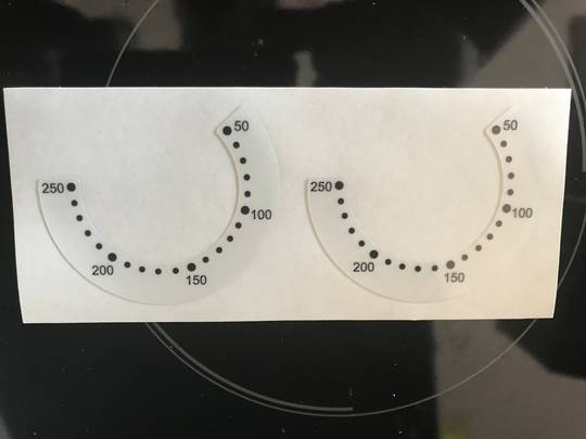 oven control panel decal sticker SYMBOLS label 10,