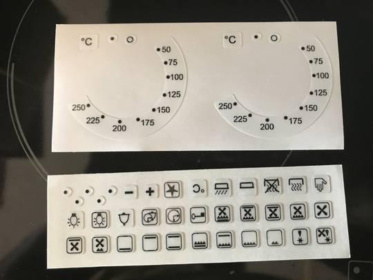 oven control panel decal sticker SYMBOLS label 5,