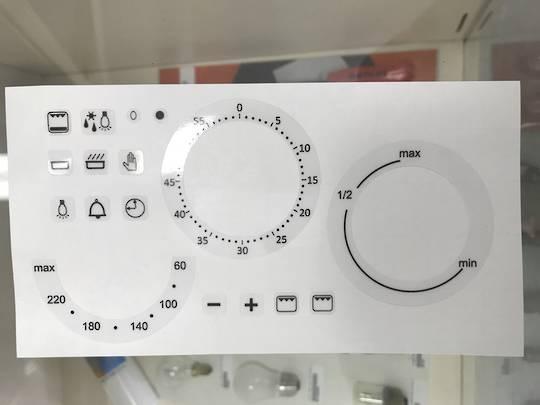 oven control panel decal sticker SYMBOLS label 6,