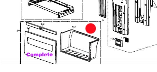 Samsung Fridge Vege Drawer SR366NTS, SR367NW, RT49EAMT1/XSA, RT49EASW1/XSA, RT49MARS1/XSA, RT49MASW1/XSA, RT53EAMT1/XSA, RT53EAS