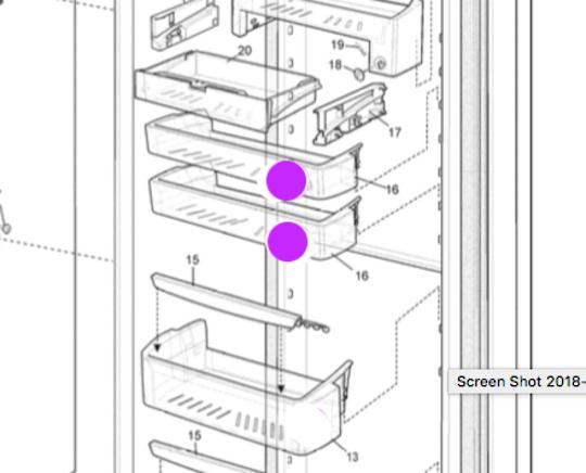 Westinghouse and Simpson fridge Freezer Door shelf upper WSE6100PA*06, WSE6100SA*06, WSE6100WA*06 WSE6100PA*07 WSE6100WA*0