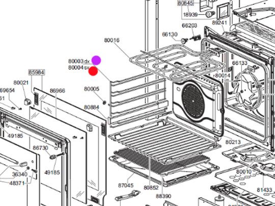 Smeg oven side rack shelf RIGHT Side SFP125-1, C6GMXA8, C6GMX, C6GVXA8, SAP399X8, DOSCA36X,