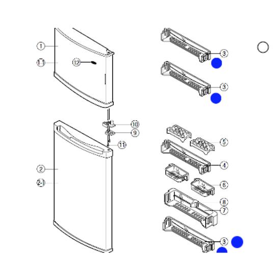 Samsung fridge and freezer door shelf SR-29NXB, SR-29NXB, SR-33NXB, SR-33NXB, SR-V29H, SR-V33H,