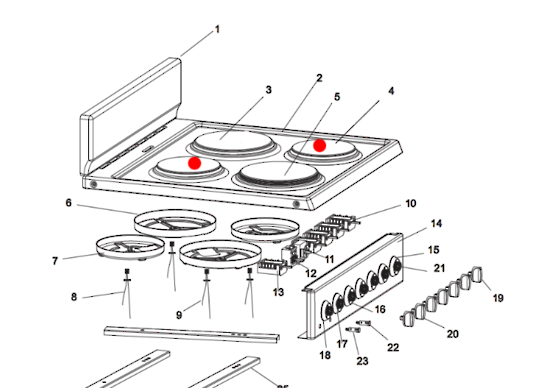 Omega Oven hot plate element Small OF5060WA, OF6060WA, 1000 Watt