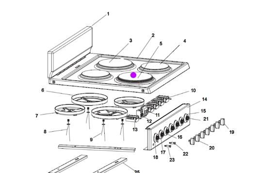 Homeking Oven hot plate element large Rapid HKFSE60WH, 2000 Watt,