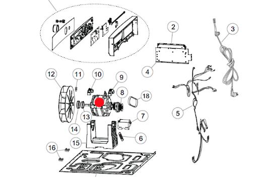 Fisher Paykel Dryer MOTOR DE6060P1, DE6060G1, DE5060G1, DE5060M1, DE4060M1,DE7060P1, DE7060G1,