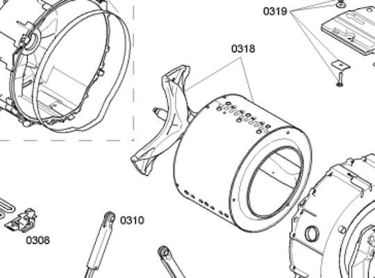 Bosch siemens Washing Machine inner drum kit including spider shaft -WAS24460AU, wap24160au, wm12s360au,