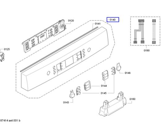 Bosch Dishwasher Panel Fascia Panel frame SMS63M38AU/98,SMS63M38AU/01, SMS63M38AU/97 SILVER ,
