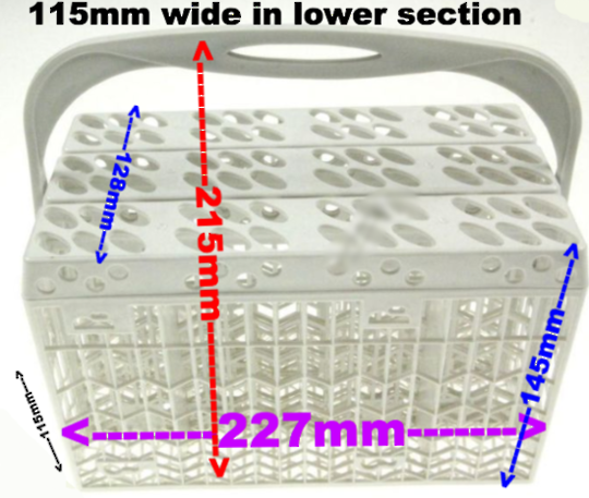 Dishwasher Cutlery Basket Universal 5000, for every brand 115mm Wide  X 227mm Lengh  X 215mm Height