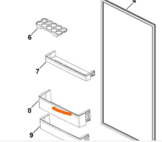 Haier Fridge 2ND bottom  Shelf on FRIDGE Door hrf-261fw, hrf-224fg, hrf-224fw, hrf261fw, hrf224fg, hrf224fw,