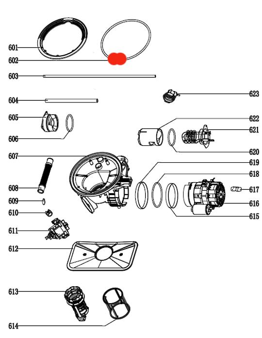 Omega Dishwasher Sump Seal  ODW707XB, ODW702, ODW704, ODW507, ODW707, ODW717,