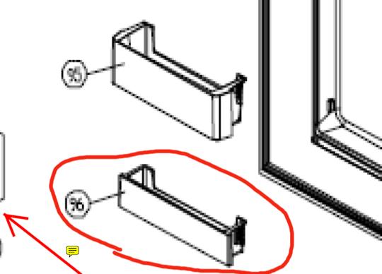 SMEG Fridge door lower shelf  SR610x, SR610XBL, SR610NE, IST ONE FROM BOTTOM