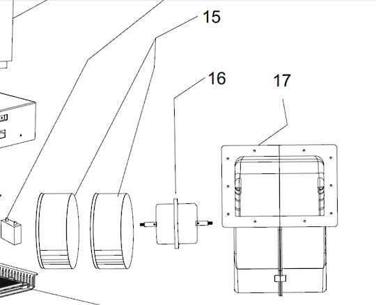 Smeg Rangehood Motor Assembly including fan blades and case PUM60X, PUM90X,
