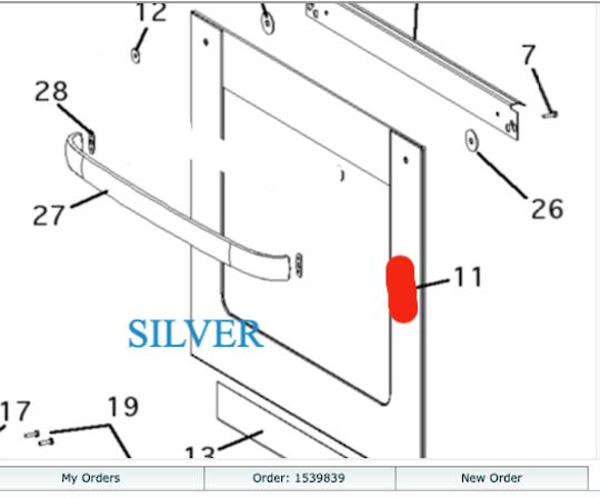 Fisher Paykel Oven Door outer Glass B1602E Silver, 87858, BI602XC, 87862, BI602ED,
