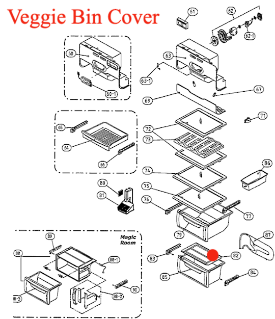 SMEG Fridge Veggie bin Cover  SR650XA, sr640xa,