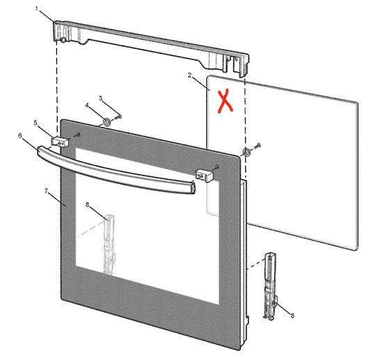 WESTINGHOUSE SIMPSON OVEN inner DOOR Glass WLE626WA,