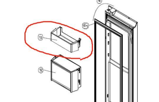 SMEG Fridge door 1st top shelf  SR610x, SR610XBL, SR610NE,