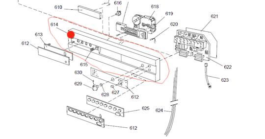 Asko dishwasher control panel D1976 Grey, *8398