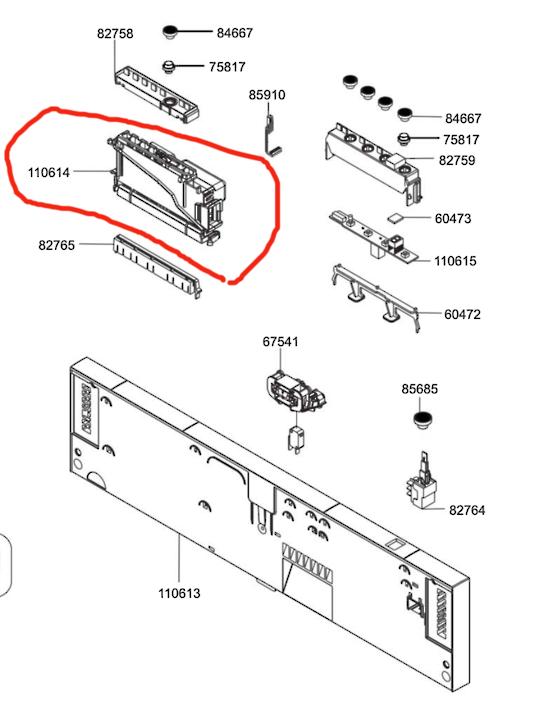 Smeg Dishwasher upper pcb function programmer DWAFI6315T