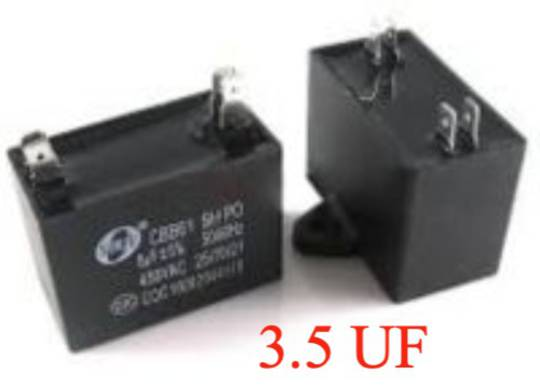 Universal Capacitor 3.5 uf 3.5uf, 450vac, cbb61, Double spade terminal , can use one of each side