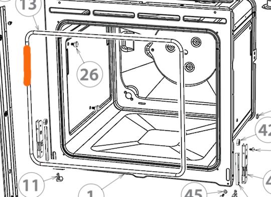 fisher and paykel Elba oven door seal gasket OB60SL7DEX1, **1233