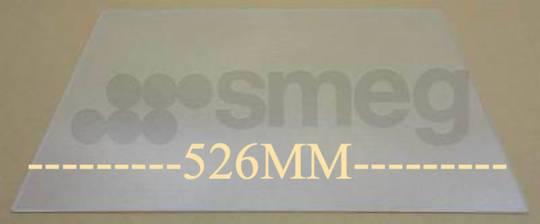 Smeg Fridge GLASS SHELF TOP veggie bin FAB32P4, FAB32OS6, FAB32AZ6, 526mm X 333mm X 4mm  *0526