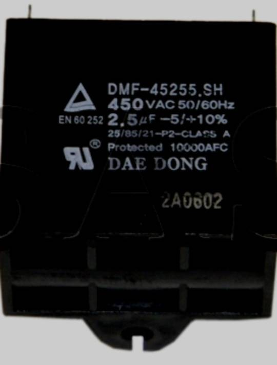 Samsung Dish Washer capacitor DMS400THX/XSA DMS500TRS/XSA DMS500TRW/XSA, DMS300TR, 2.5 uf, 2.5uf,