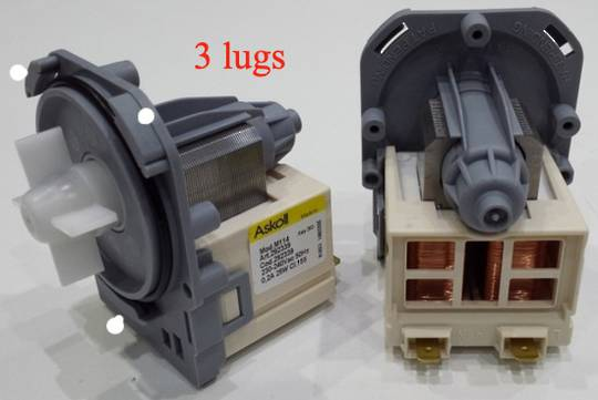 Washing machine and dishwasher drain pump  Drain Pump , 3 lug separate plug , ASKOL Pump ,