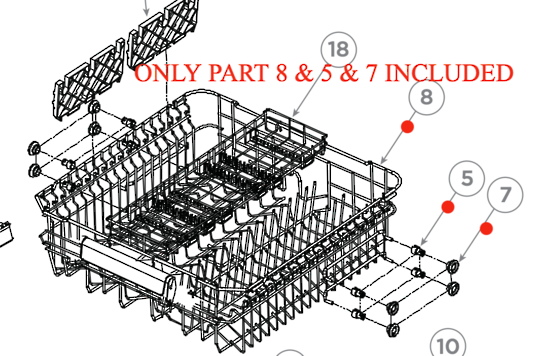 FISHER PAYKEL ELBA DISHWASHER UPPER BASKET 81129, 81130, 81636, 81637, DW60FC1W1, *697FDW60FC1X1,