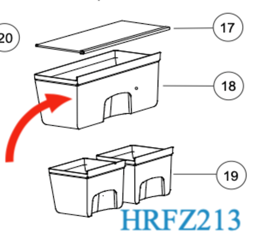 Haier Fridge Crisper Bin shelf HRZ-241, HRFZ213- HRFZ-213,   *2X00084