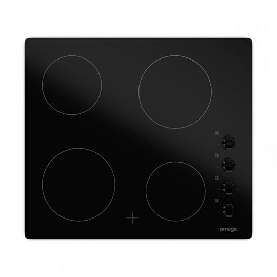 Omega 60cm Black Glass Frameless Ceramic Cooktop with Knob Control OC64KZ,
