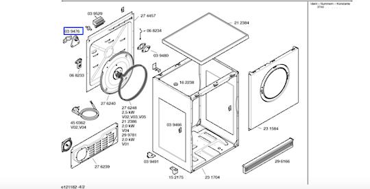 Bosch tumble rear bearing or stress realief wta3003