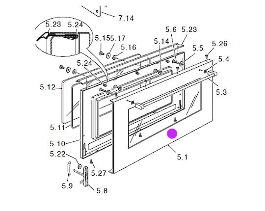Delonghi oven Door Outer Glass External Glass L91GW, D906G11, D906DII, DEF905GWX1, DE91GW1, DEF905GW1X1, DEF905EX1,