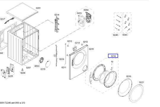 Bosch washing machine Door Hinge and Frame Widow WAS28461AU,