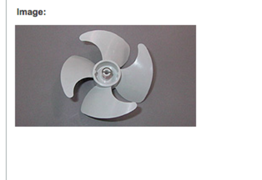 Fisher Paykel  Freezer Fan Blade E388L, N388L, E308L, N308 , E388R, N388R, E308R, 102mm. *0098