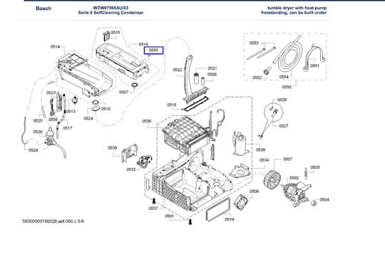 Bosch Dryer Locking cap Blind Grommet for condensate container WTW87565AU,