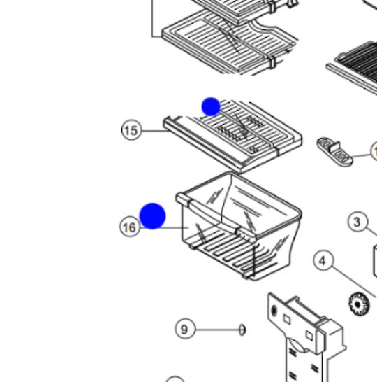 samsung fridge VEGGIE BIN COVER SHELF SR21NME, SR21WME, SR-24NME, SR24WME, SR25NME, SR-25NME, SR25WME NO LONGER AVAILABLE