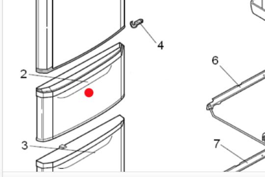 Mitsubishi Fridge MIDDLE DOOR DOOR VEGE RED MRC375C-R: MR-C375C-R MR-C405C-R MR-C375G-R MR-C405G-R ,